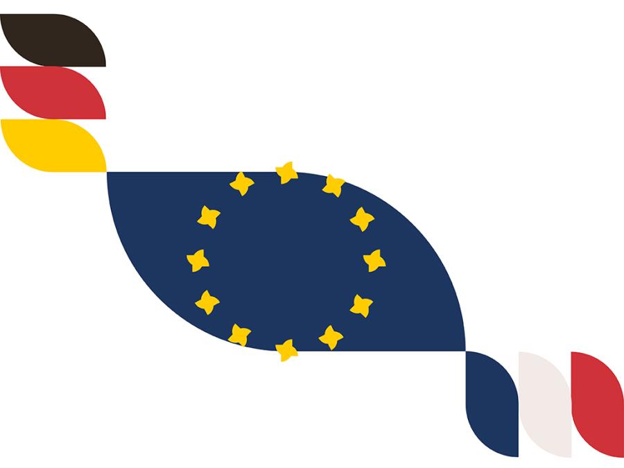 Fahne mit der europäische Flagge, die die französische und deutsche Flaggen vereint.
